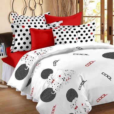 Storyathome Printed Cotton Double Bed Sheet With 2 Pillow Covers-MT1205