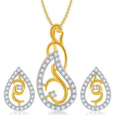 Sukkhi Exquitely Gold & Rhodium Plated Pendant Set - White & Golden - 4069PSCZL1100