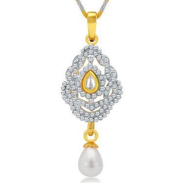 Sukkhi Designer Gold & Rhodium Plated Pendant Set - White & Golden - 4078PSKDV1250