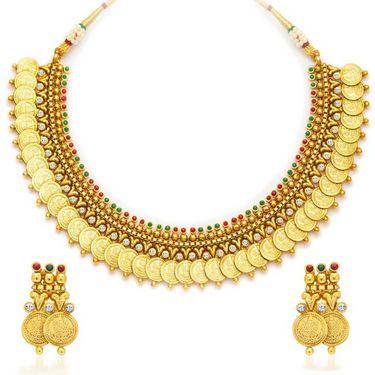 Sukkhi Enchanting & Charming Gold Plated Necklace Set - Golden - 2116NGLDPV2000