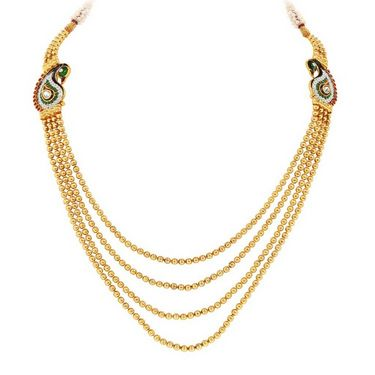 Sukkhi Wavy Peacock Gold Plated Necklace Set - Golden - 2162NGLDPV3250