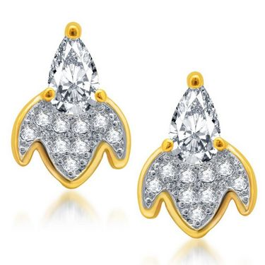 Sukkhi Ritzzy Gold and Rhodium Plated Earrings - Golden & White - 178EARSDPVTS330
