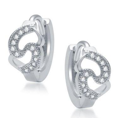 Sukkhi Glittery Rhodium Plated Earrings - White - 199EARSDPVTS500