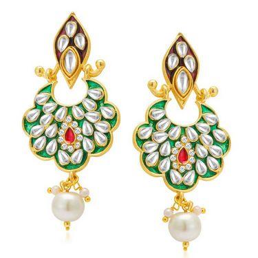 Sukkhi Sparkling Gold Plated Earrings - Golden - 6059EKDM650