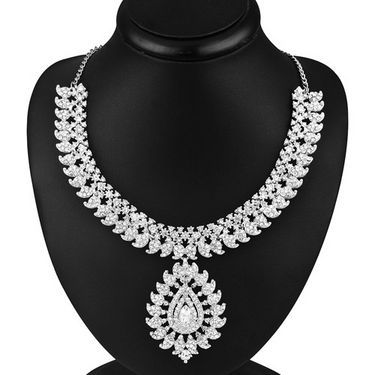 Sukkhi IncRedible Rhodium Plated AD Stone Necklace Set - 1022V