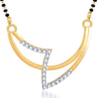 Sukkhi Gold Finished Mangalsutra Pendant - White & Golden - 117M400
