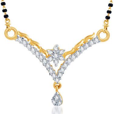 Sukkhi Gold Finished Mangalsutra Pendant - White & Golden - 123M500