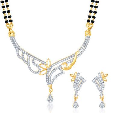 Sukkhi Gold Finished Mangalsutra Set - White & Golden - 131M1950
