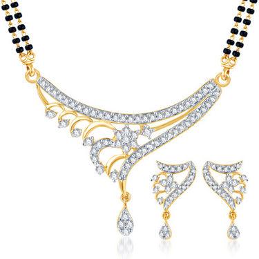 Sukkhi Gold Finished Mangalsutra Set - White & Golden - 147M1800