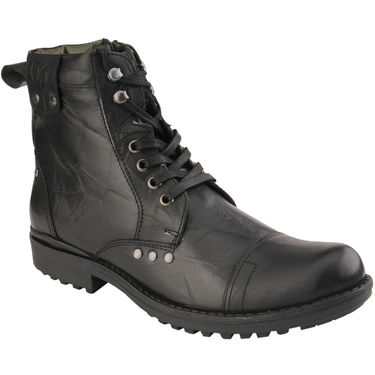 Delize Leather Boot T-002-Black