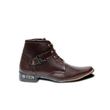 Faux Leather Brown Boots -T12