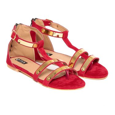 Suede Leather Red Sandals -12Red01