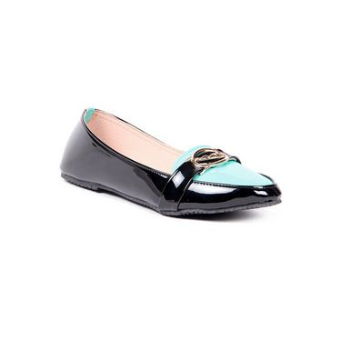 Ten Patent Leather 077 Women's Loafers - Green/Black