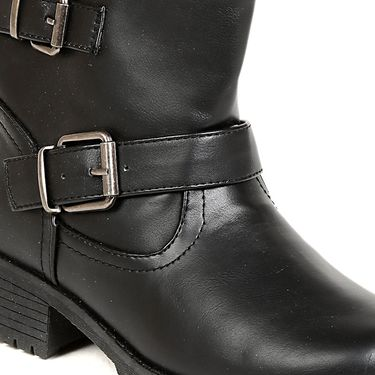 Leather Black Boots For Womens -tb28
