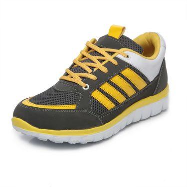 Ten Grey & Yellow Mesh Sports Shoes -mtj13