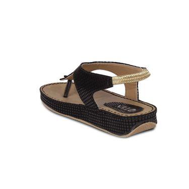 Ten Artificial Leather Black Sandals -ts17