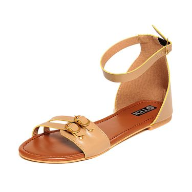 Patent Leather Beige Sandals -17Beg02