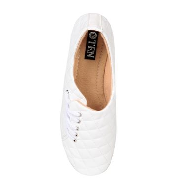 Ten Synthetic Leather White Womes Sports Shoes -ts315