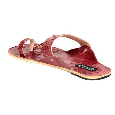 Ten Synthetic Leather Maroon & Cherry Ethnic Slippers -ts329