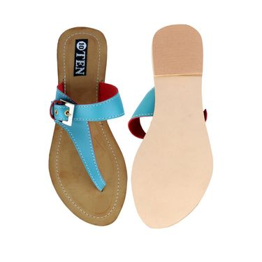 Ten Artificial Leather Turquoise Flats & Slippers -ts54
