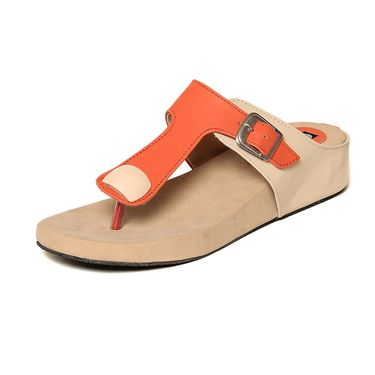 Synthetic Leather Orange Slippers -549Orng02