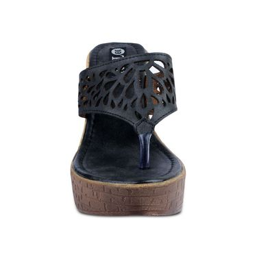 Ten Leather Black Heel Sandals  -ts62