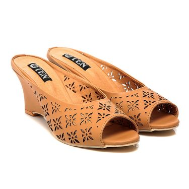 Synthetic Leather Tan Wedges -575Tan01