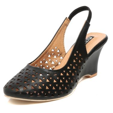 Synthetic Leather Black Wedges -576Blk02