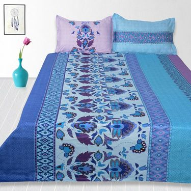 Storyathome Cotton Blue King Size 1 Double Bedsheet With 2 Pillow Cover-TV1216
