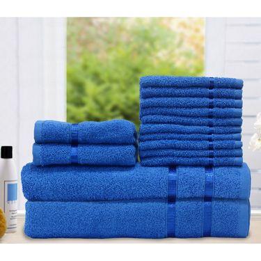 Story@Home 14 Pcs Premium Towel Combo 100% Cotton-Blue-TW1204_2X-1M-1S