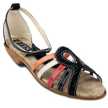 Ten Faux Leather Womes Sandals For Women_tenbl146 - Black