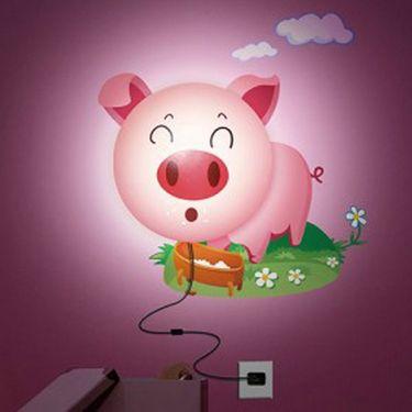 3D Cartoon Pig Style Wall Stickers Night Lamp -ULWLS-PIG