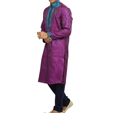 Runako Silk Full Sleeves Kurta Pyjama_RK4077 - Dark Magenta