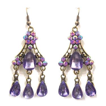 Urthn Fashion Oxidised Earrings In Purple Crystal - Purple - 1301116