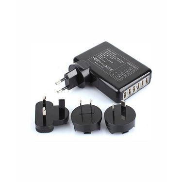 Vibrandz 6 Port USB Charger Worldwide Adaptor - Black