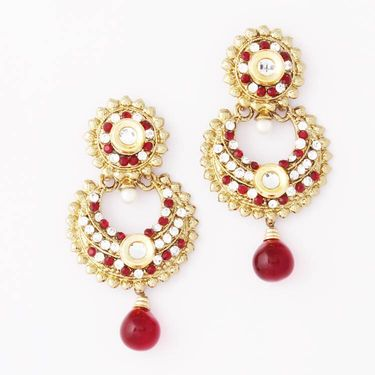 Variation Maroon Artificial Gold Plated Earrings_Vd10679