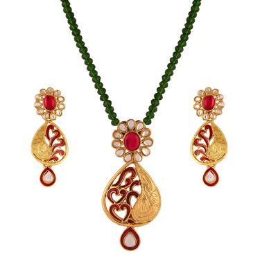 Variation Pink & Green Kundan Crystal Semi Necklace Set_Vd11637
