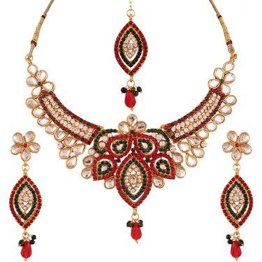Variation Maroon & Green Bridal Jewellery Set With Mangtika_Vd13301