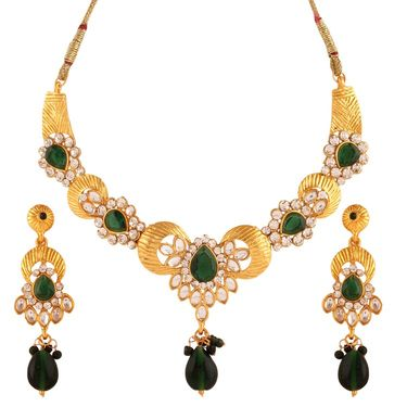 Variation Green Stone Studded Party Wear Necklace Set_Vd13997