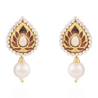 Variation Maroon Meenakari Party Wear Gold Plated Earring_Vd14342
