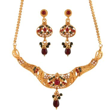 Variation Red & Green Necklace Set_Vd15924