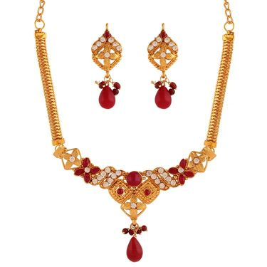 Variation Maroon Artificial Stone Necklace Set_Vd15934