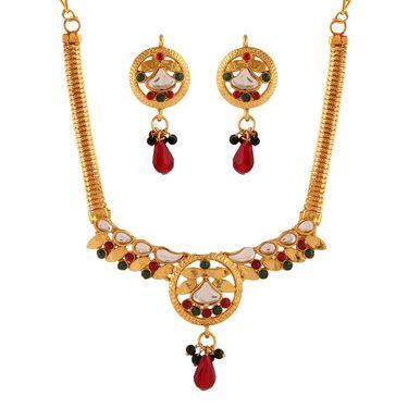 Variation Multi Gold Plated Kundan Small Necklace Set_Vd15936