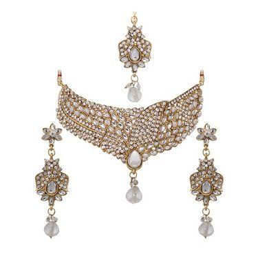 Vendee Fashion Choker Necklace Set - Golden - 8325