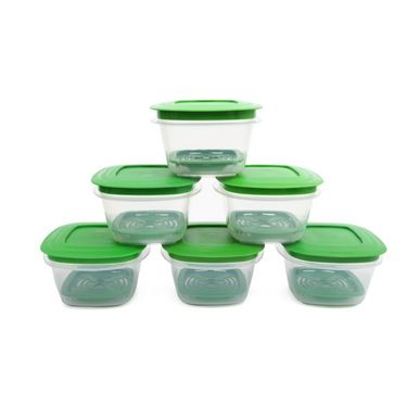 Cutting EDGE Veggie Fresh Refrigerator Storage 600ml Container Set of 6 With Special Freshness Trays Green