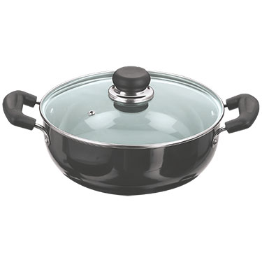 Vinod Black Pearl 280mm Deep Kadai with Tempered Glass Lid - Black