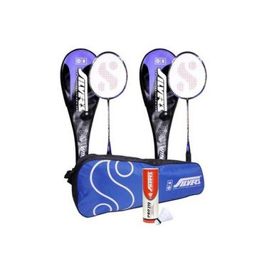 Silver's Pack Of 2 Wind Badminton Racquets With Full Covers + Pack Of 6 Pro-270 Nylon Shuttlecock White + 1 Kitbag
