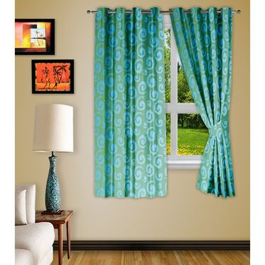 Story @ Home Aqua 2 pc Window curtain-5 feet-WNR3020
