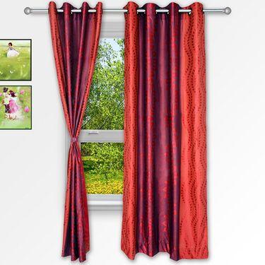 Story @ Home Maroon 2 pc Window curtain-5 feet-WNR3021