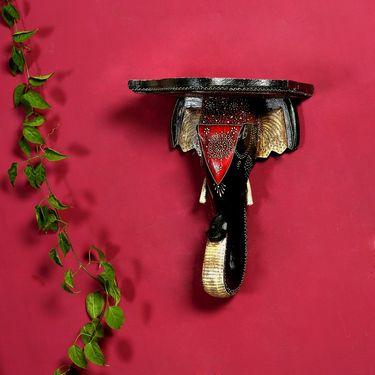 Combo of Elephant Head Wall Mount & Miniature Terracotta Flower vases-WUD1242_TC1271